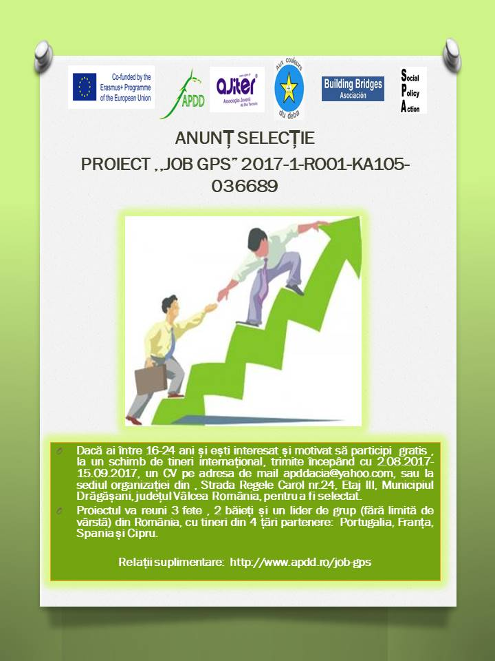 Anunț selecție JOB GPS Project